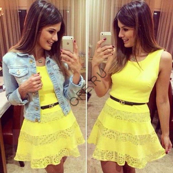 Желтое платье для вечеринки