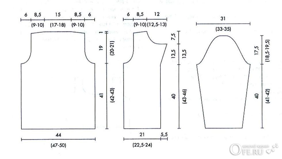 Выкройка кардигана простого кроя для вязания 77